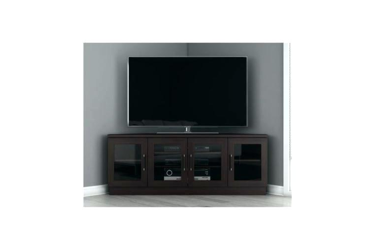 White Wooden Corner Tv Stands – Elmamut With Famous Dark Brown Corner Tv Stands (View 18 of 20)