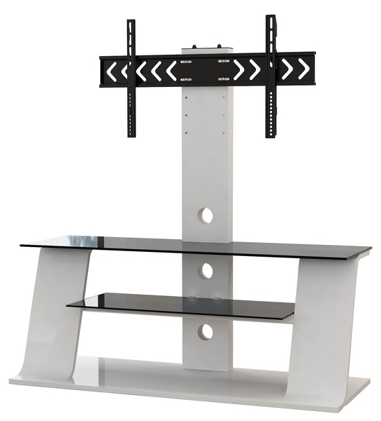 White Wooden Tv Stand With Black Glass – Ikea Style Intended For Preferred White Cantilever Tv Stands (View 20 of 20)
