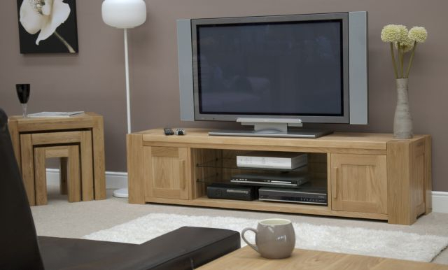 Wide Oak Tv Units Regarding Famous Homestyle Trendy Lifestyle Solid Oak 180Cm Wide Tv Unit – Tv (View 19 of 20)