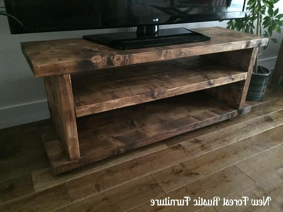 Wide Screen Tv Stands Inside Newest Ex Display) Rustic Norley Wood Widescreen Tv Unit In (View 13 of 20)