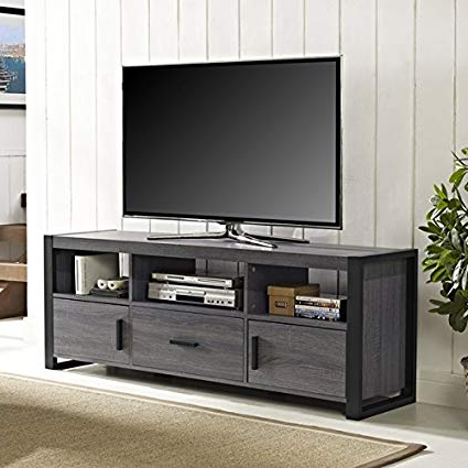 Wide Tv Cabinets Regarding Widely Used Amazon: 60 Inch Charcoal Tv Stand Console (Os60Cgs1Cl). Features (Gallery 15 of 20)
