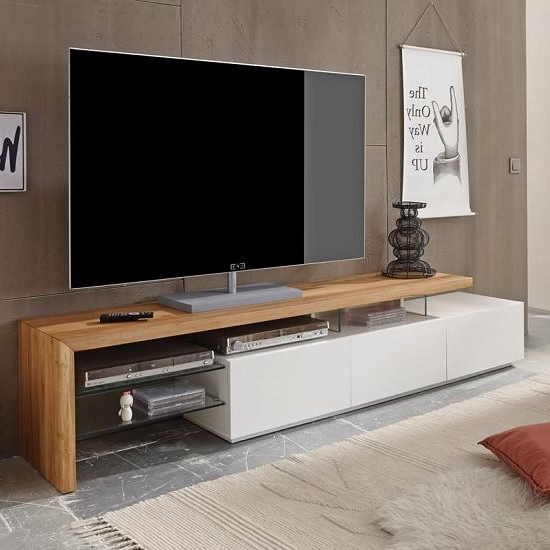Widely Used Alanis Modern Tv Stand In Knotty Oak And Matt White With 3 Drawers With Regard To Modern Tv Cabinets (View 11 of 20)