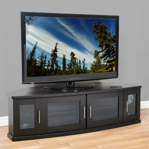 Widely Used Black Tv Stand With Glass Doors For Plateau Newport 62 Inch Corner Tv Stand In Black, As Shown (Gallery 4 of 20)