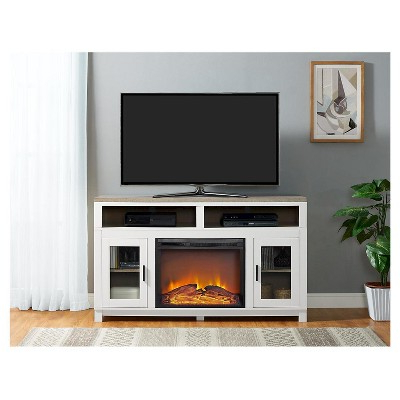 Widely Used Carver Fireplace Tv Console With Glass Doors – Oxford White Inside Caden 63 Inch Tv Stands (View 19 of 20)
