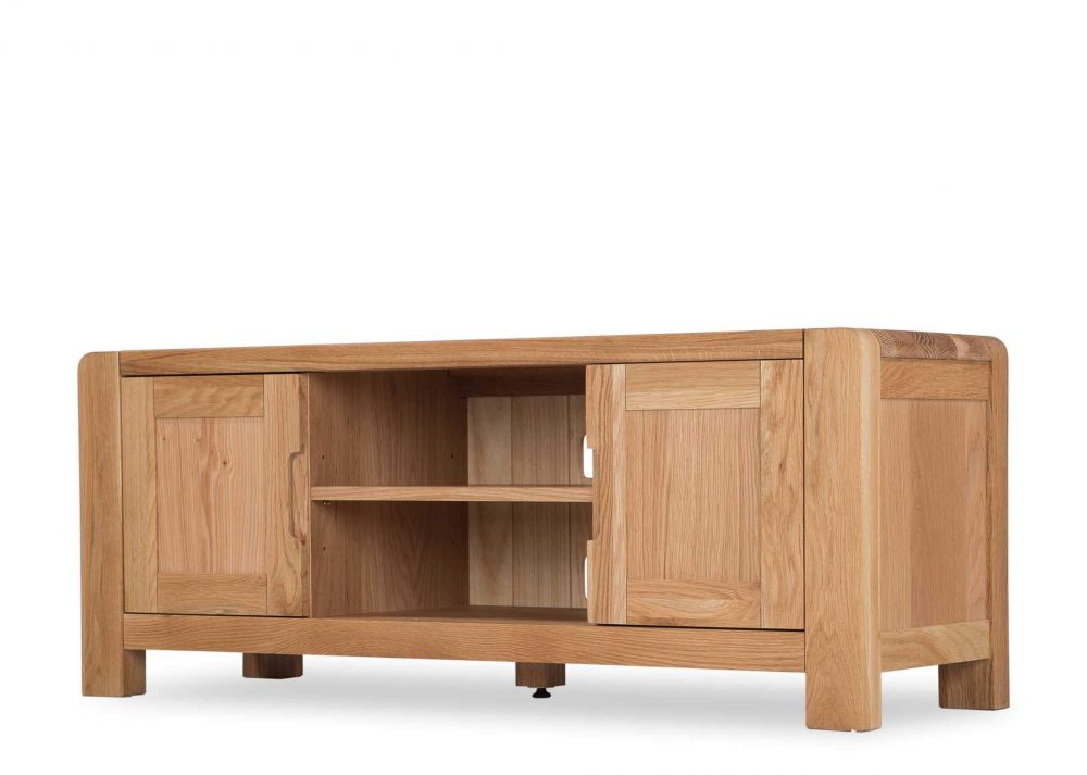 Widely Used Contemporary Large Solid Oak Tv Unit – Milton – Ez Living Furniture Intended For Oak Tv Cabinets With Doors (View 12 of 20)