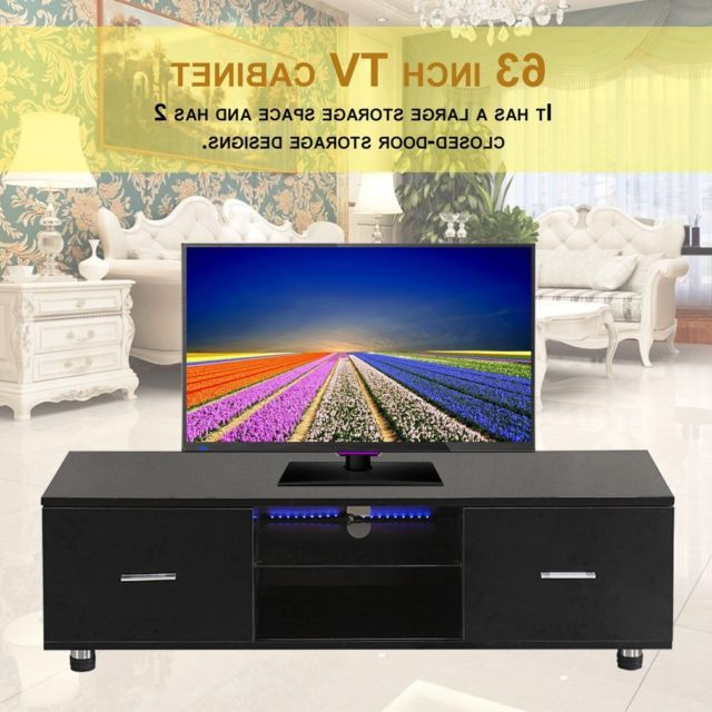 Widely Used Large Black Tv Unit Intended For High Gloss Black Tv Stand Unit Cabinet With Led Shelves 2 Drawers (View 20 of 20)