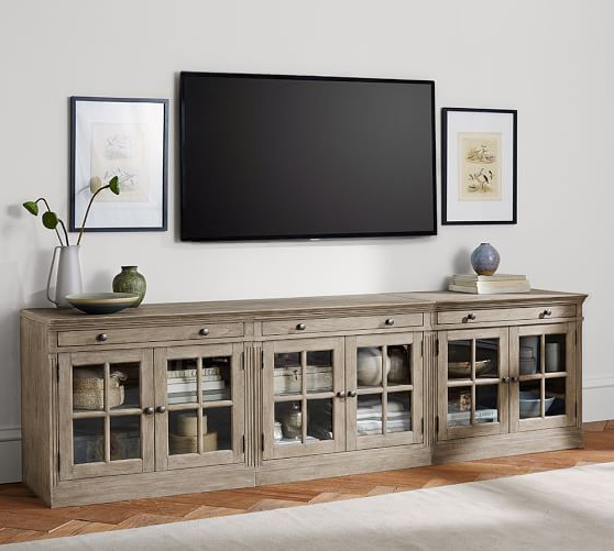 Widely Used Laurent 70 Inch Tv Stands Pertaining To Livingston Large Tv Stand With Glass Doors, Gray Wash (Gallery 4 of 20)