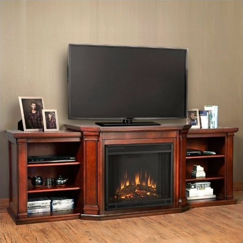 Widely Used Mahogany Tv Stands Regarding Real Flame Valmont Entertainment Center Electric Fireplace Dark (View 20 of 20)