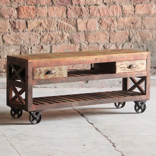 Widely Used Mary Rose Reclaimed Wood Tv Stand On Wheelsmodish Living (View 20 of 20)