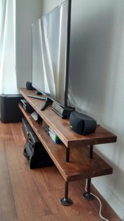 Widely Used Metal And Wood Tv Stands Regarding Industrial Pipe And Wood Tv Stand (Gallery 6 of 20)