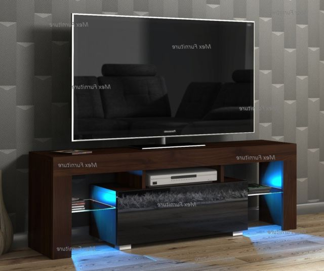 Widely Used Modern Tv Unit 130Cm Cabinet Stand Walnut Matt And Black High Gloss Inside Walnut And Black Gloss Tv Units (View 20 of 20)