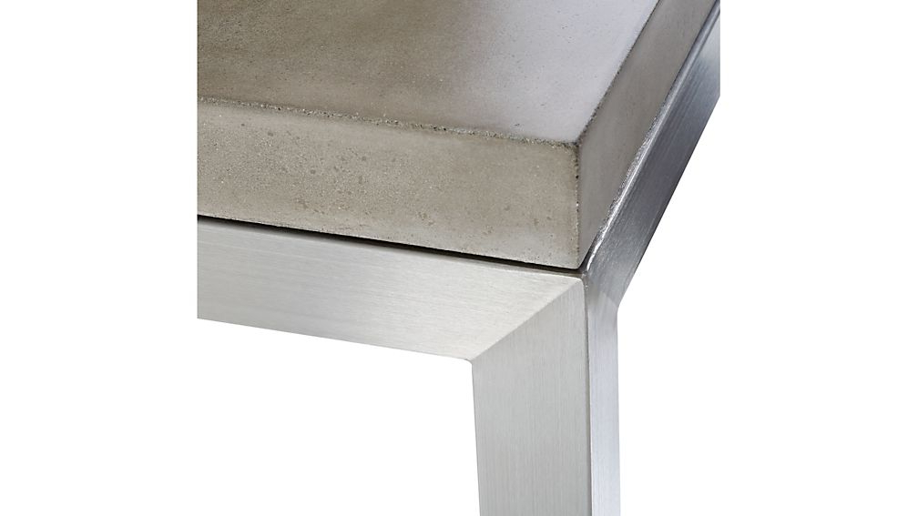 Widely Used Parsons Clear Glass Top & Brass Base 48X16 Console Tables In Parsons Concrete Top/ Stainless Steel Base 60X36 Large Rectangular (View 20 of 20)