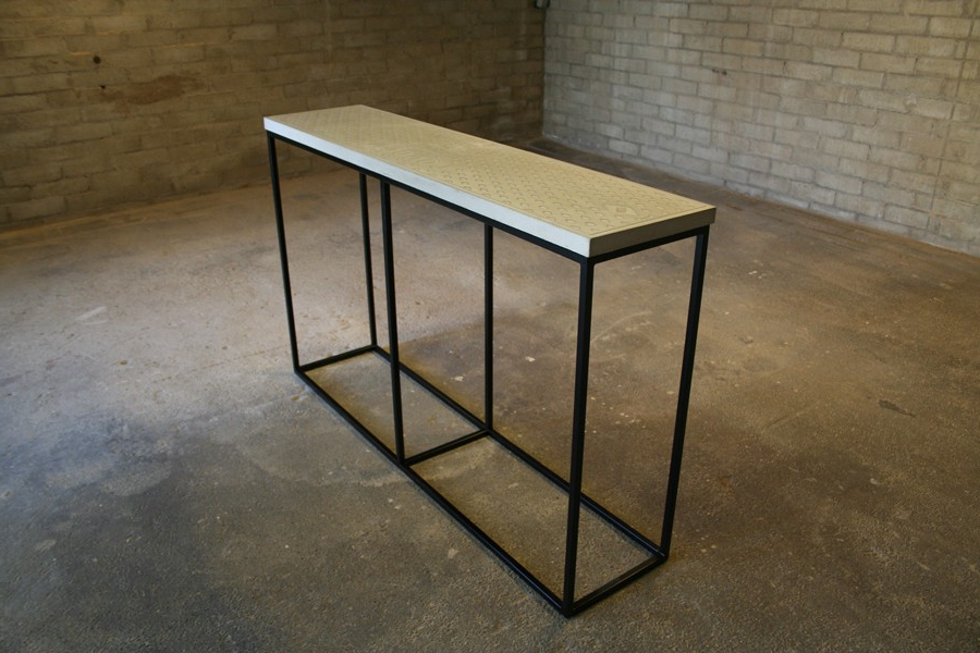 Widely Used Parsons Concrete Top & Brass Base 48X16 Console Tables Inside Concrete Top Console Table Incredible Parsons Dark Steel Base 48X (View 18 of 20)