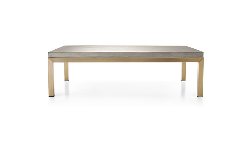 Widely Used Parsons Concrete Top/ Brass Base 60x36 Large Rectangular Coffee Regarding Parsons Concrete Top & Elm Base 48x16 Console Tables (View 9 of 20)