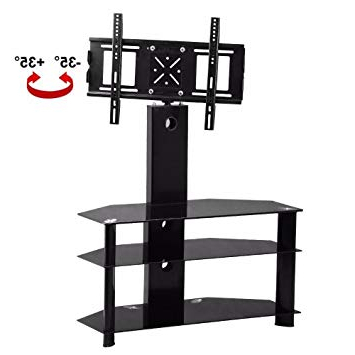 Widely Used Popamazing 3 Tier Black Glass Tv Stand With Wall Mounted Swivel With Regard To Swivel Black Glass Tv Stands (View 20 of 20)