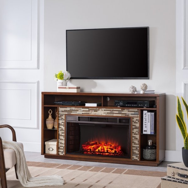 Widely Used Shop Harper Blvd Niamh Glass Tiled Tv Stand Electric Fireplace For Maple Tv Stands For Flat Screens (View 16 of 20)