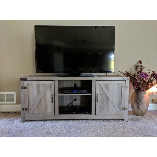 Widely Used Shop The Gray Barn Firebranch Barn Door Tv Stand – Free Shipping Intended For Tv Cabinets With Glass Doors (View 19 of 20)