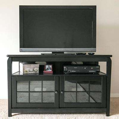 Widely Used Solid Wood Black Tv Stands Intended For Solid Wood – Black – Tv Stands – Living Room Furniture – The Home Depot (Gallery 1 of 20)