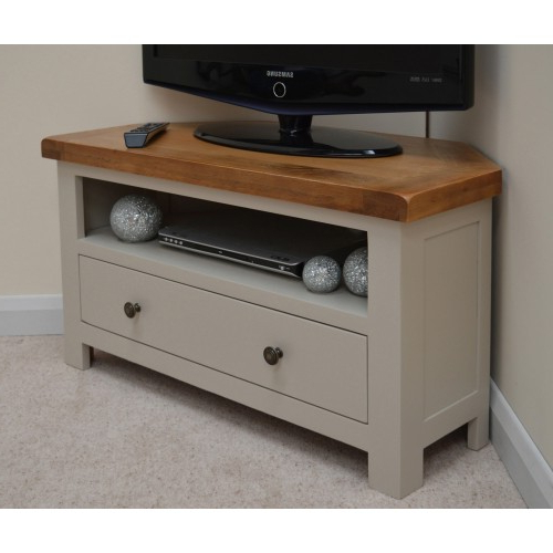 Widely Used Swainswick Stone Grey Oak Corner Tv Stand / Entertainment Unit With Regard To Cream Corner Tv Stands (Gallery 7 of 20)