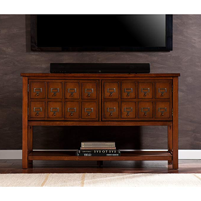 Widely Used Wakefield 85 Inch Tv Stands For Amazon: Southern Enterprises Apothecary Console/tv Stand – Brown (View 20 of 20)