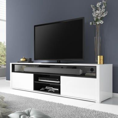 Widely Used White High Gloss Tv Stands For Evoque White High Gloss Tv Unit With Soundbar Shelf (View 20 of 20)