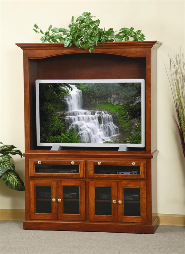 Widely Used Wooden Tv Stands With Glass Doors With Regard To Amish Traditional Entertainment Center With Smoked Glass Doors (View 7 of 20)