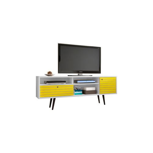 Widely Used Yellow Tv Stands For Manhattan Comfort Liberty 71 Inch Tv Stand With 4 Shelving Spaces (View 16 of 20)
