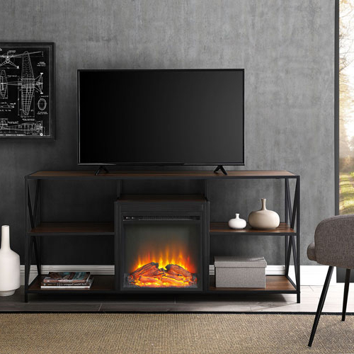 "Winmoor Home X Frame 65"" Fireplace Tv Stand – Dark Walnut : Tv Pertaining To Widely Used Dark Walnut Tv Stands (View 20 of 20)"