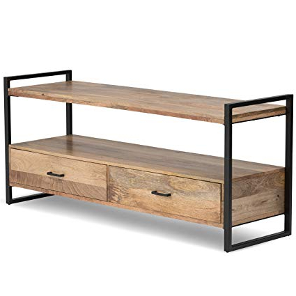 Wood And Metal Tv Stands Pertaining To 2017 Amazon: Simpli Home 3Axcriv 05 Riverside Solid Mango Wood And (View 1 of 20)