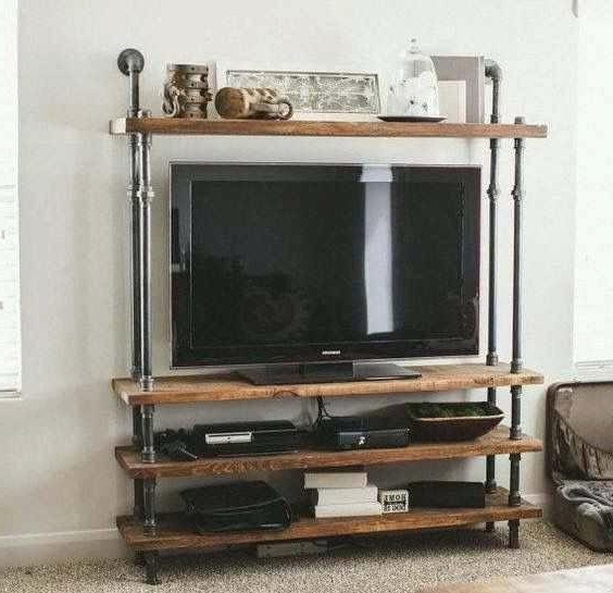 Wood Stands Lovable Barrel Pipe And Reclaimed Standdesign Tv For Current Cast Iron Tv Stands (View 19 of 20)