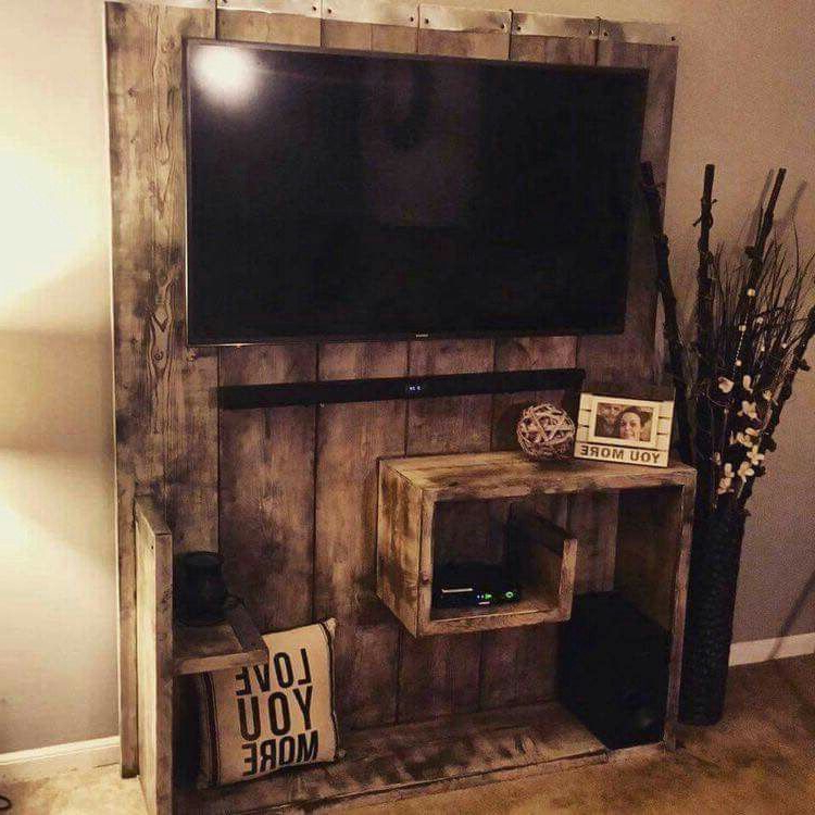 Wood Tv Entertainment Stands Intended For Most Recent Diy Rustic Tv Stand Entertainment Center. Barn Wood (View 16 of 20)