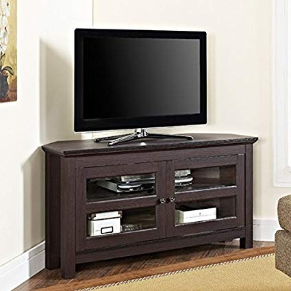 "Wood Tv Entertainment Stands Pertaining To Most Popular Amazon: Tv Console Stands 44"" Espresso Wood Corner Furniture (View 17 of 20)"