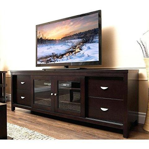 Wood Tv Stand With Glass Throughout Most Popular Tv Stands With Glass Doors Extraordinary Amazon Com Winsome Wood Tv (View 16 of 20)
