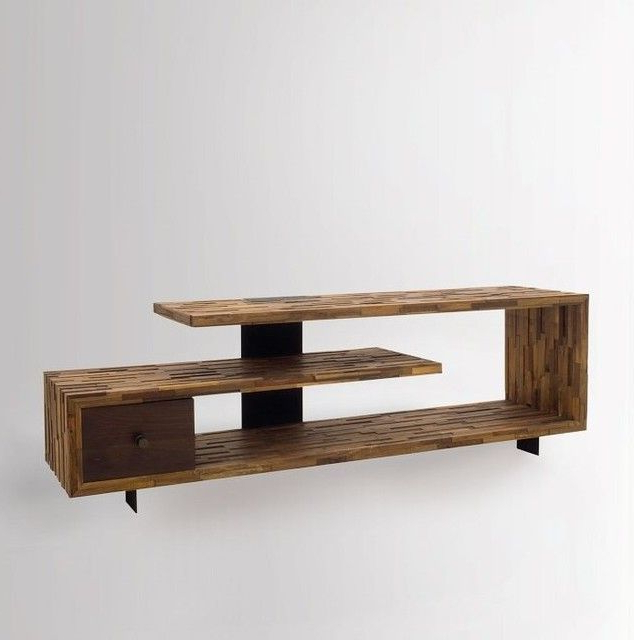 Wood Tv Stands Pertaining To Most Recent Wooden Tv Stand Made Using Hard Wood (View 13 of 20)
