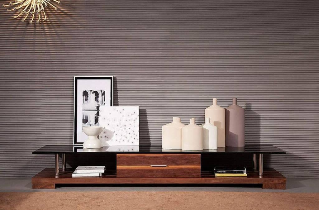 Wood Tv Stands With Glass Top Within 2018 Furniture: Beautiful Contemporary Modern Tv Stand Featuring Black (View 19 of 20)