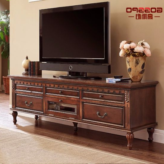 Wooden Tv Cabinets With Glass Doors Pertaining To Most Current China Antique Wood Tv Stand Cabinet With Glass Doors (Gsp15  (View 18 of 20)