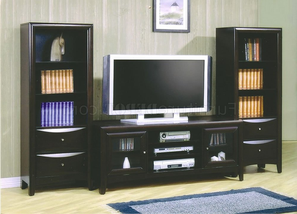 Wooden Tv Cabinets With Glass Doors Pertaining To Well Known Deep Cappuccino Finish Modern Tv Stand W/framed Glass Doors (View 19 of 20)
