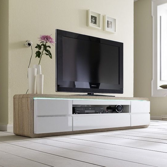 Wooden Tv Stands And Cabinets Throughout Preferred Frame Plasma Tv Stand In Oak And White High Gloss With 5 Drawers (View 19 of 20)