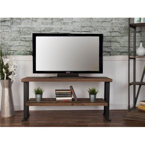 Wooden Tv Stands For 50 Inch Tv In Well Liked Rustic Brown Industrial 50 Inch Tv Stand – Brixton (Gallery 3 of 20)