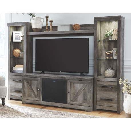 Wynnlow – Gray – Entertainment Center – Lg Tv Stand, 2 Piers, Bridge Regarding Recent Entertainment Center Tv Stands (View 20 of 20)