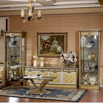 Yb016 Matching Set Living Room Display Cabinet European Antique Gold With Regard To Latest Tv Display Cabinets (View 20 of 20)