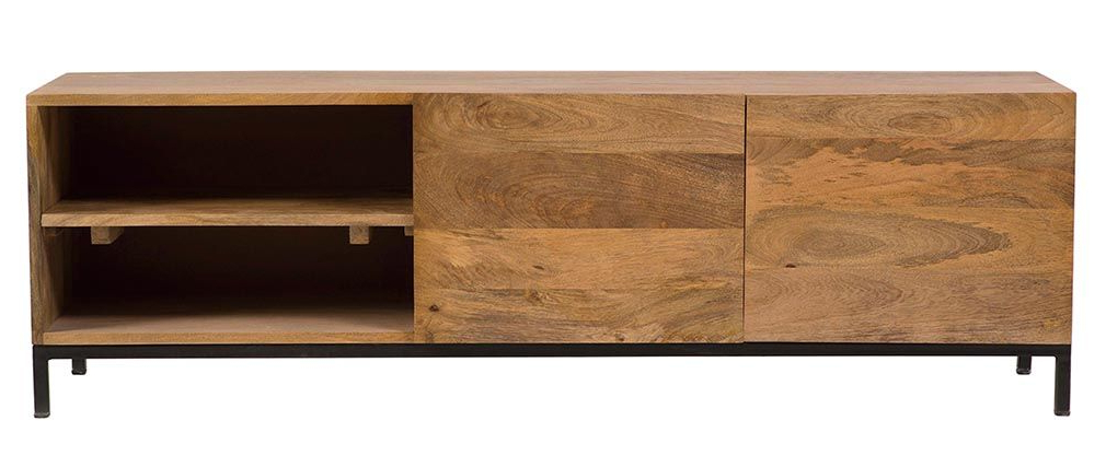 Ypster Mango Wood And Metal Industrial Tv Stand – Miliboo Intended For Well Known Industrial Metal Tv Stands (View 11 of 20)