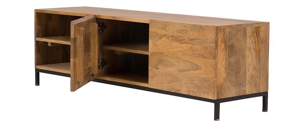 Ypster Mango Wood And Metal Industrial Tv Stand – Miliboo Regarding Favorite Mango Wood Tv Stands (Gallery 16 of 20)