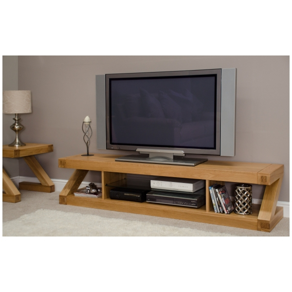 Zouk Solid Oak Designer Furniture Large Widescreen Tv Cabinet Stand With Regard To Preferred Oak Tv Cabinets (Gallery 9 of 20)