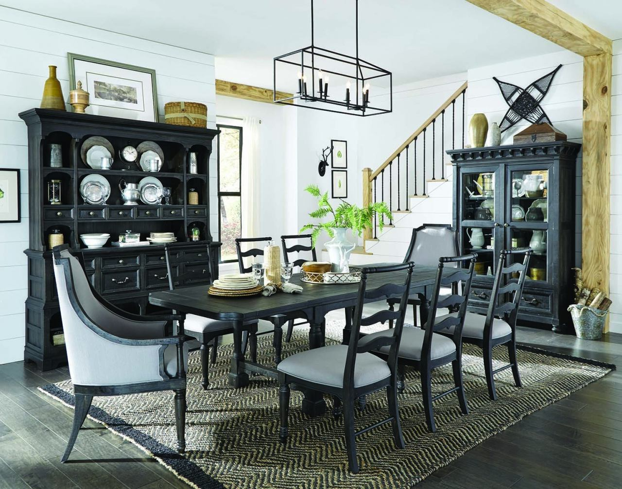 2017 Bedfo 3 Piece Dining Sets With Regard To Magnussen Furniture Bedford Corners 7Pc Rectangular Dining Set In Anvil  Black (Gallery 5 of 20)