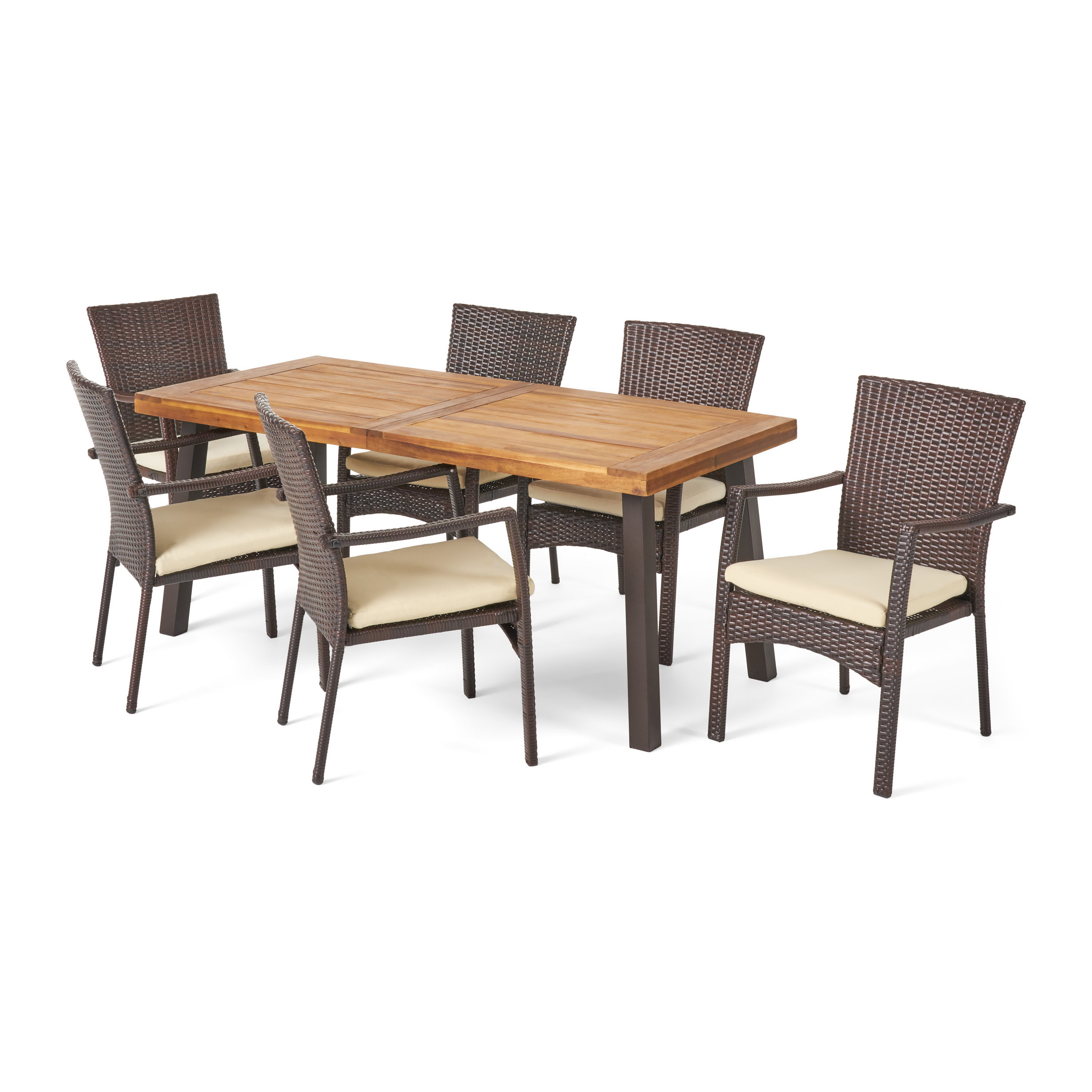 2017 Kaya 3 Piece Dining Sets Intended For Kissena 7 Piece Teak Dining Set (View 1 of 20)