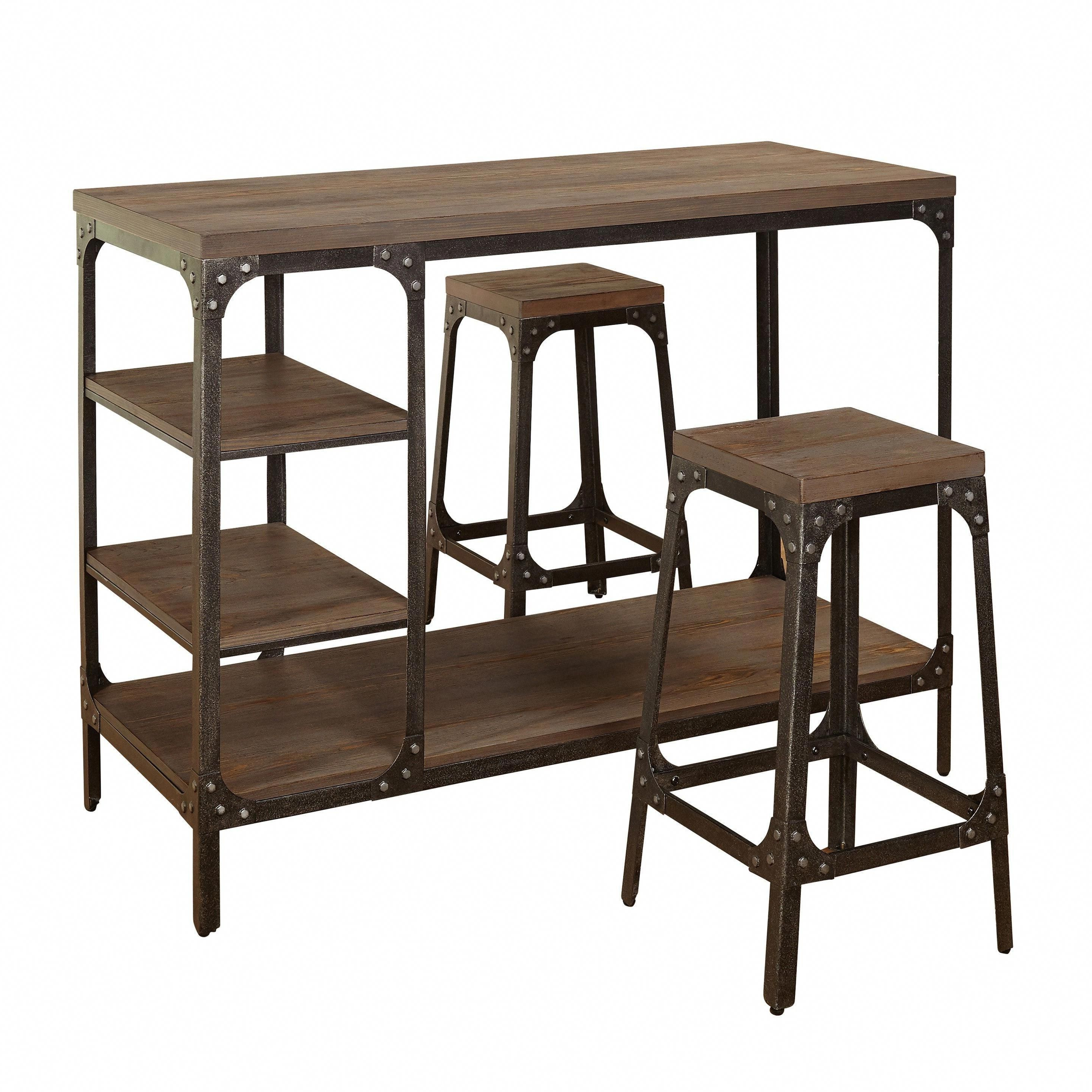 2017 Kerley 4 Piece Dining Sets In Simple Living Scholar Vintage Industrial 3 Piece Counter Height (View 1 of 20)