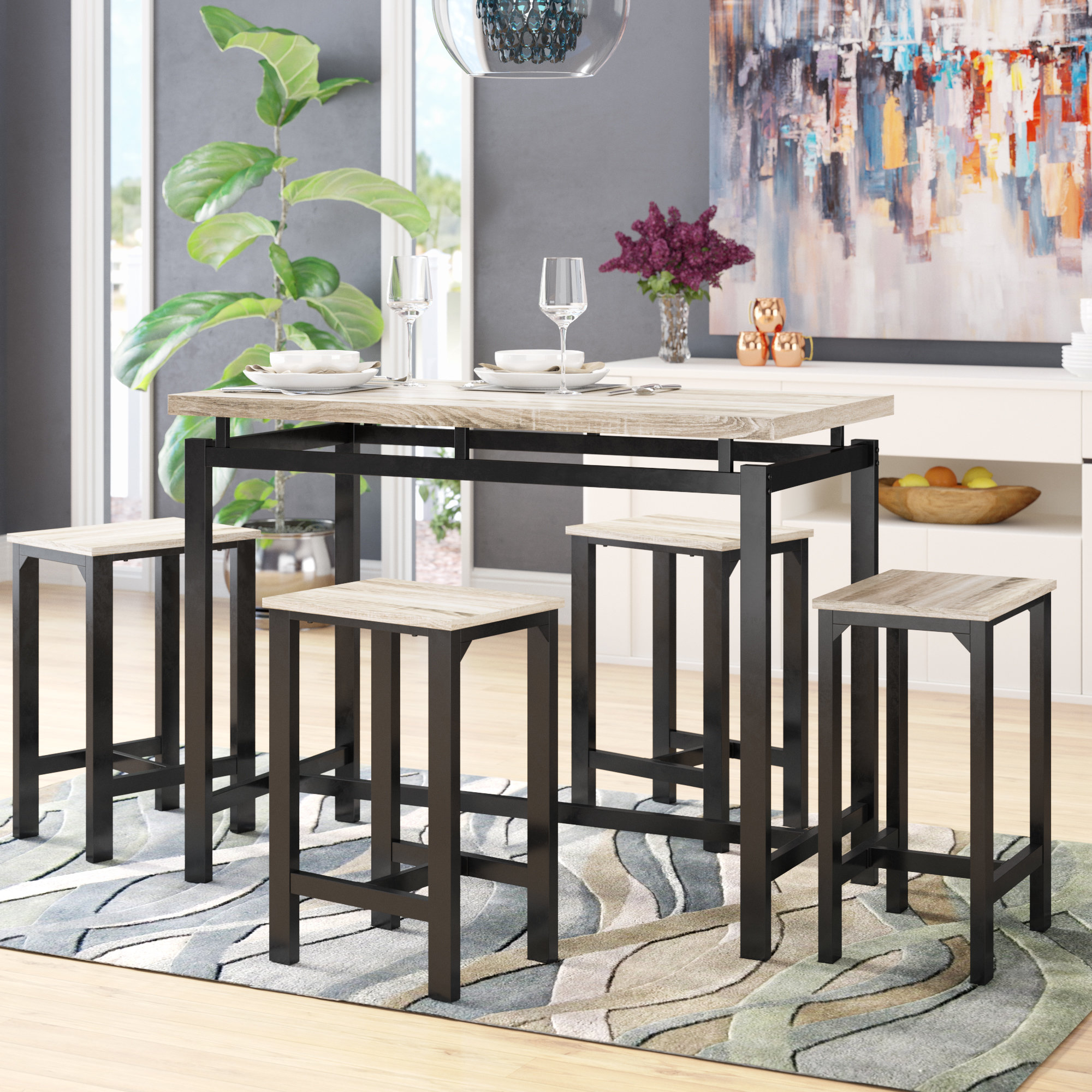 2017 Latitude Run Weatherholt 5 Piece Pub Table Set For Moorehead 3 Piece Counter Height Dining Sets (Gallery 11 of 20)