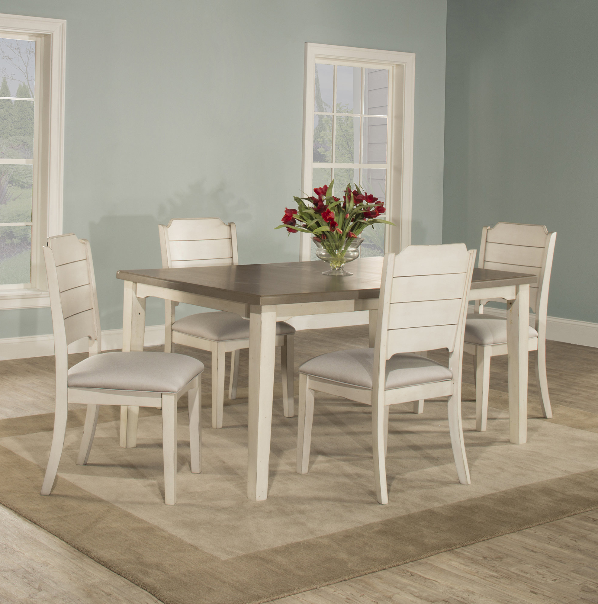 2017 Rosecliff Heights Kinsey 5 Piece Dining Set With Regard To Nutter 3 Piece Dining Sets (View 2 of 20)