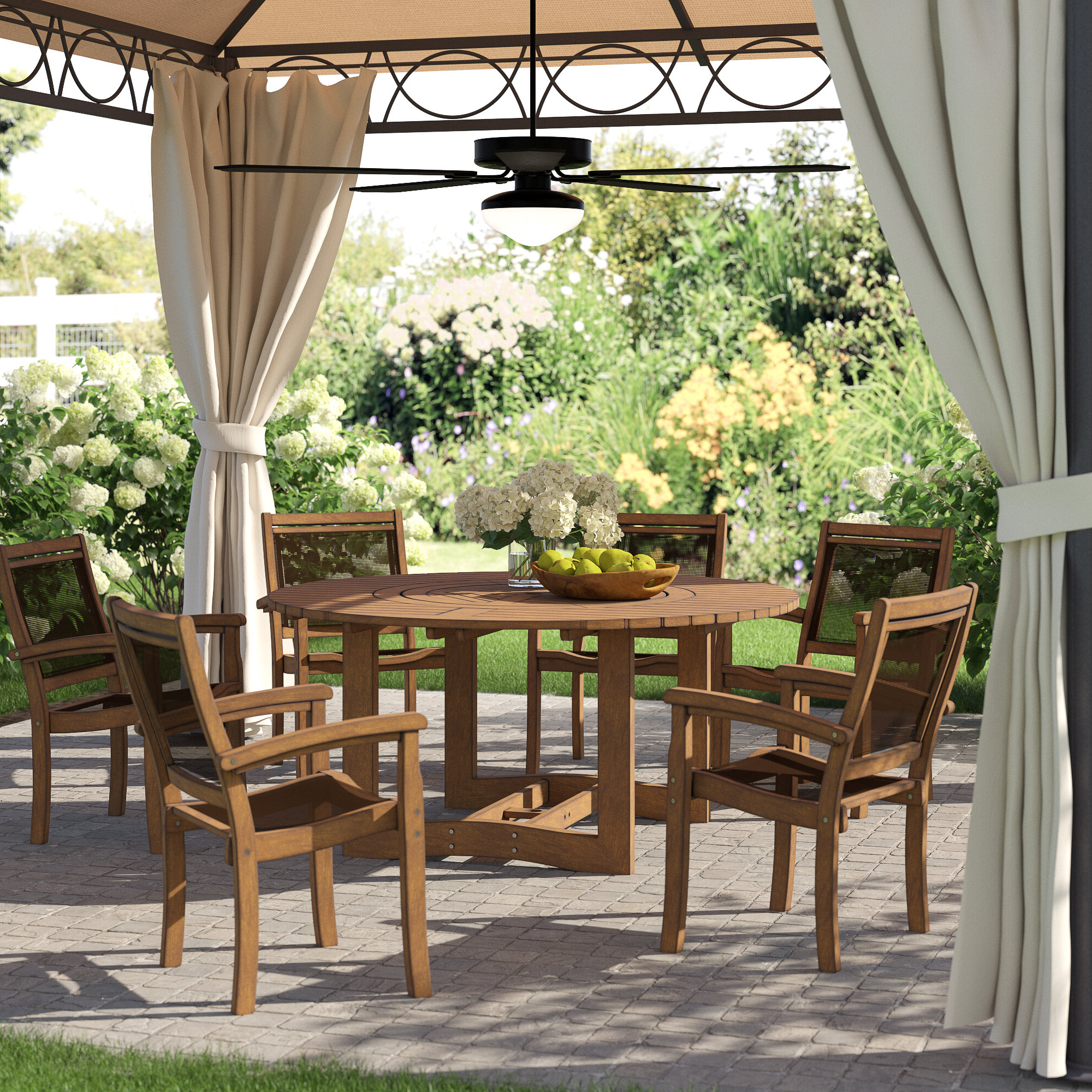 2017 Rossi 5 Piece Dining Sets Regarding Tovar Eucalyptus And Sling Lazy Susan 7 Piece Dining Set (View 11 of 20)